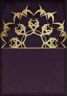 Bourgondische flyer met grieks gouden patroon voor uw ontwerp.
