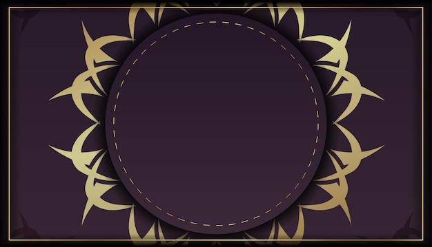Bourgondische flyer met indiase gouden patroon voor uw felicitaties.