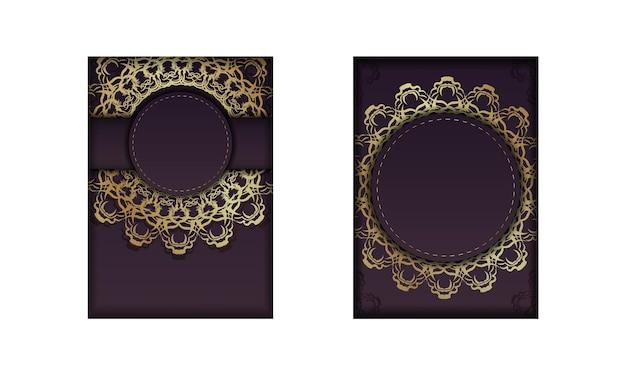 Bourgondische flyer met luxe gouden patroon voor uw merk.