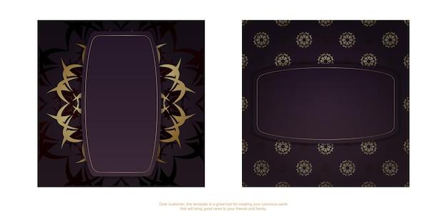 Bourgondische flyer met vintage gouden patroon voor uw merk.