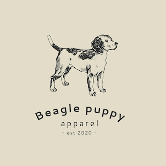 Boutique bedrijfslogo sjabloon in vintage honden beagle thema
