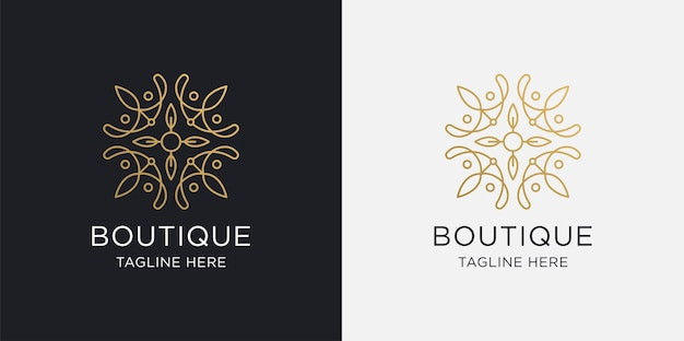 Boutique logo lijn kunst stijl luxe en gouden logo sjabloon