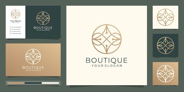 Boutique minimalistisch eenvoudig en elegant bloemenmonogramsjabloon