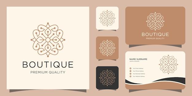 Boutique minimalistische eenvoudige en elegante bloemenmonogramsjabloon en visitekaartjes