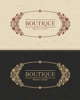 Boutique monogram logo sjabloon met bloeit kalligrafische elegante ornament-elementen.