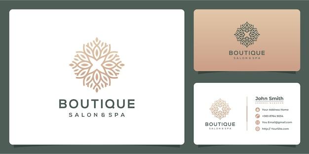 Boutique salon en spa luxe logo met sjabloon voor visitekaartjes