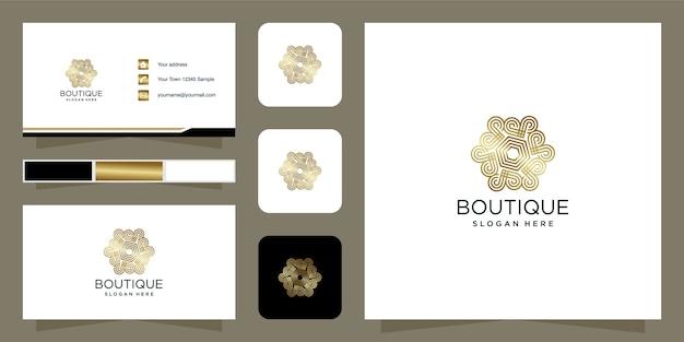 Boutique schoonheid logo ontwerp gouden kleur sjabloon