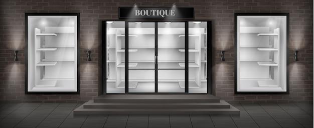 Boutique winkel gevel met bord