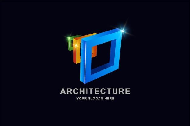 Bouw 3d frame vierkant logo-ontwerp