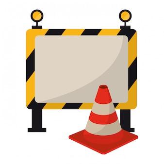 Bouw barrière en verkeerskegel