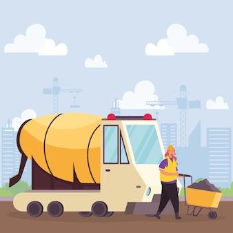 Bouw betonmixer voertuig en bouwer met kruiwagen scène vector illustratie ontwerp