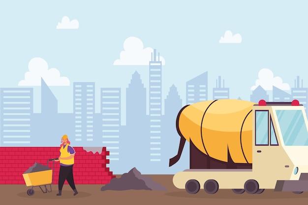 Bouw betonmixer voertuig en bouwer met kruiwagen vector illustratie ontwerp