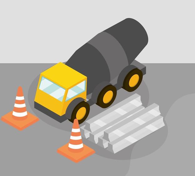 Bouw betonmixer vrachtwagen bars apparatuur en verkeerskegels isometrische illustratie
