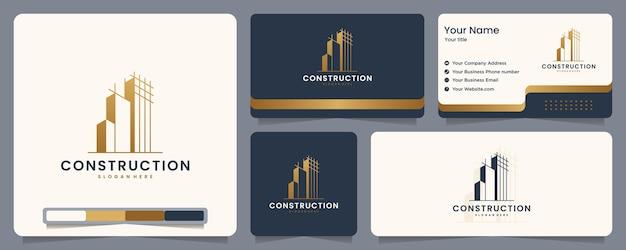 Bouw, bouwer, gebouw, goudkleur, banner en visitekaartje, inspiratie voor logo-ontwerp