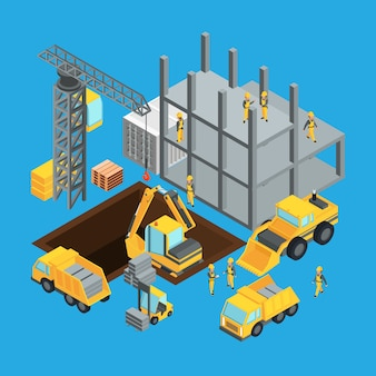 Bouw bouwfase. isometrisch transport voor constructie.