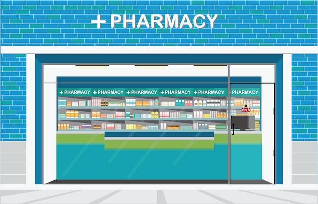 Bouw buiten vooraanzicht en binnenland van drogisterij, vectorillustratie.