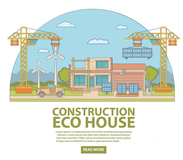 Bouw eco huis concept illustratie in vlakke lineaire stijl