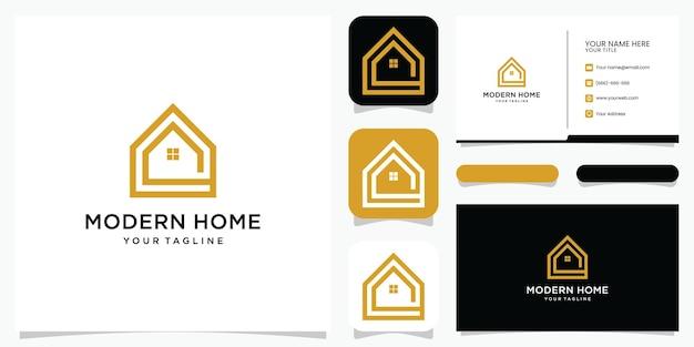 Bouw een huislogo met lijnstijl. home build abstract voor logo en visitekaartje ontwerp