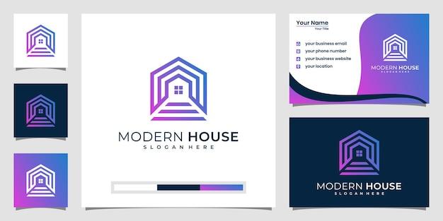 Bouw een huislogo met lijnstijl. home build logo-inspiratie.