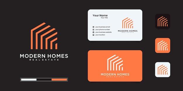 Bouw een huislogo met lijnstijl. huis bouwen abstract