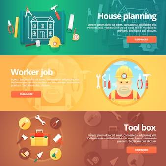 Bouw en bouwset. illustraties rond het thema planning van een huis, werk van een arbeider of bouwer, gereedschapskistuitrusting. concept.