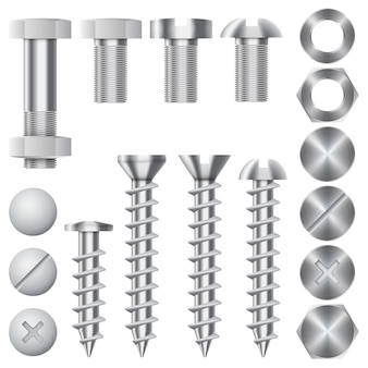 Bouw hardware pictogrammen. schroeven, bouten, moeren en klinknagels. apparatuur roestvrij, metalli fix versnelling, vectorillustratie