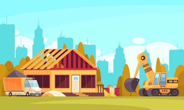 Bouw horizontale achtergrond met vrachtwagen van beton en graafwerktuig dichtbij onvolledige plattelandshuisje vlakke illustratie