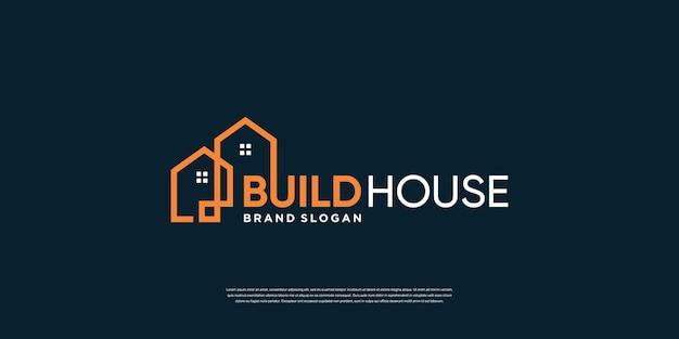 Bouw huis logo sjabloon met creatief concept premium vector