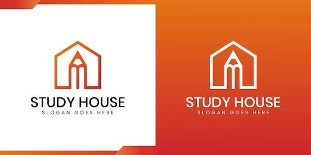 Bouw huis met potloodpictogram lijntekeningen logo-ontwerp voor studiehuis of huis, school, universiteit, hogeschool