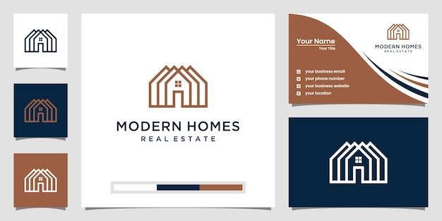 Bouw huislogo met lijnkunststijl. home build abstract voor logo sjabloon