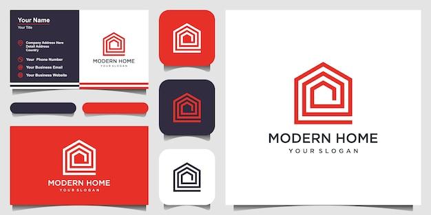 Bouw huislogo met lijnstijl. home build abstract voor logo en visitekaartje ontwerpen