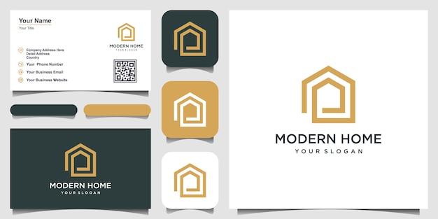 Bouw huislogo met lijnstijl. home build abstract voor logo inspiratie.