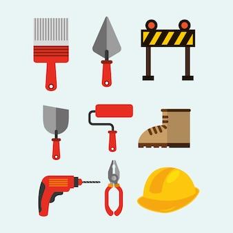 Bouw hulpmiddelen apparatuur spatel roller boor barrière boot tangen vector illustratie