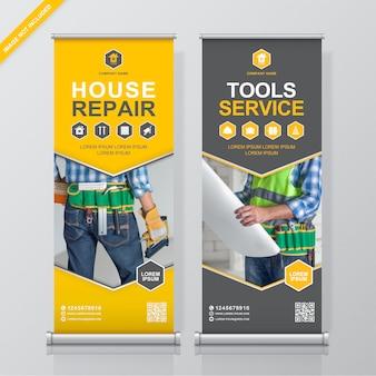 Bouw hulpmiddelen oprollen en staan banner ontwerpsjabloon