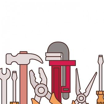 Bouw hulpmiddelen patroon geïsoleerd pictogram