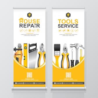 Bouw hulpmiddelen service oprollen ontwerp, banner standee sjabloon