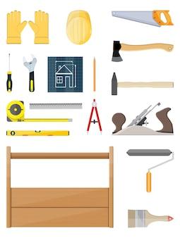 Bouw hulpmiddelen set. timmerwerkinstrumenten.