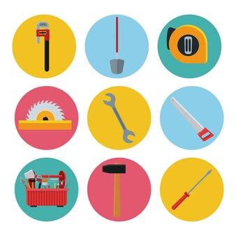 Bouw hulpmiddelenpictogrammen set vector pictogram ilustration stedelijk