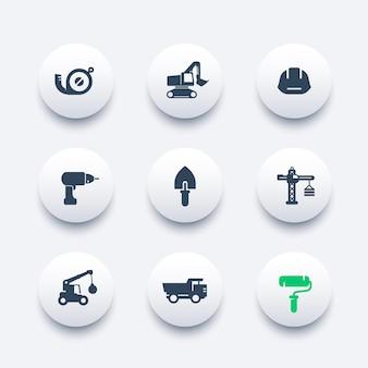 Bouw iconen set, troffel, boor, verfroller, graafmachine, zware vrachtwagen, kraan, meetlint, vectorillustratie