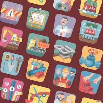 Bouw iconen vector constructieve apparatuur of tools van bouwer of constructeur om een nieuw huis te bouwen voor familie illustratie van bouw of engineering tekenen instellen naadloze patroon achtergrond
