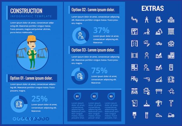 Bouw infographic sjabloon en elementen