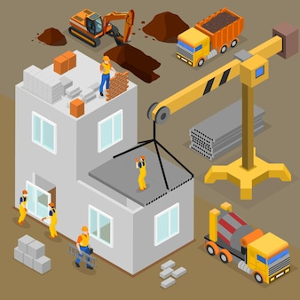 Bouw isometrische samenstelling met menselijke karakters van arbeiders en bouwers tijdens het bouwproces bediend door machines