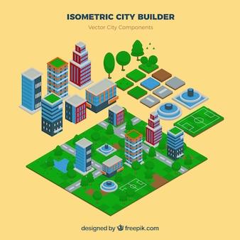 Bouw je stad in isometrisch aanzicht