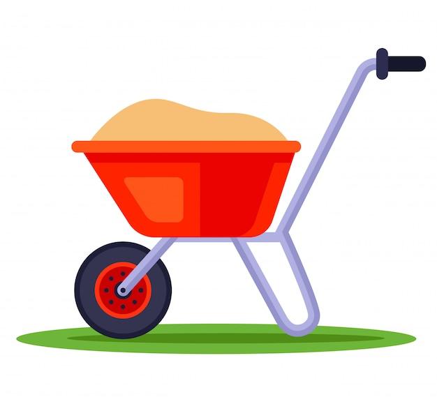 Bouw kruiwagen met zand. transportmeststoffen voor de tuin. illustratie op witte achtergrond.