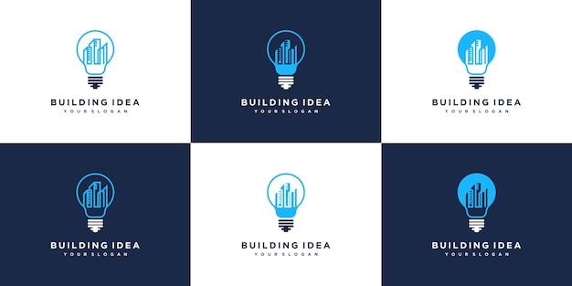 Bouw logo-ontwerpen in lijntekeningen voor gloeilampen. logo ontwerpset