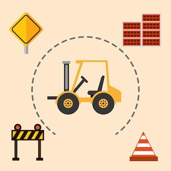 Bouw machines heftruck barrière kegel bakstenen muur gereedschappen apparatuur vectorillustratie
