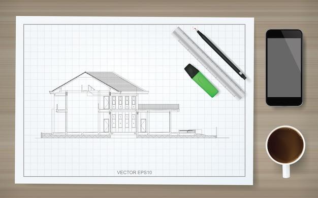 Bouw papier achtergrond van blauwdruk met afbeelding van draadframe huis