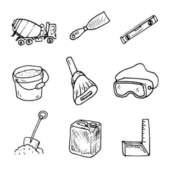 Bouw pictogrammen schets. goed te gebruiken voor websitepictogrammen, symbolen, stickers of elk gewenst ontwerp. gemakkelijk te gebruiken, te bewerken of van kleur te veranderen.