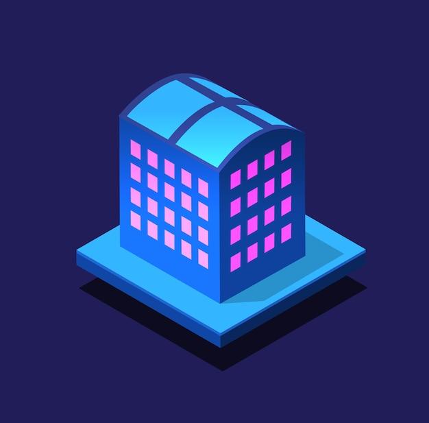 Bouw slimme stad 's nachts. futuristische ultraviolette module van stedelijke infrastructuur, isometrische gebouwen