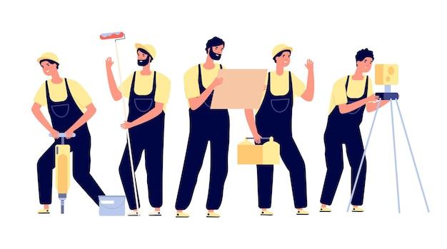 Bouw team. ingenieur bouwer karakter. geïsoleerde lachende collega's, cartoon werknemer. professionele industriële medewerker